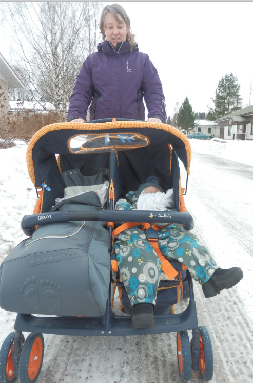 Fig 5: Out for a walk with my two children, enjoying the cold climate offered by Finland