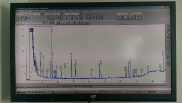 A chromatogram---the graphical data output from the AAR dating analysis.